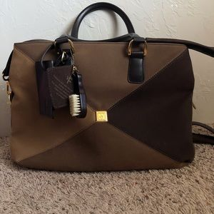 DVF Brown Multi-tone Faux Suede Overnight Bag
